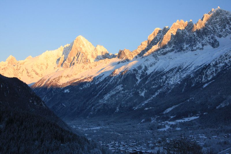 The Mont Blanc massif - and Aiguille Vert - going into sunset
