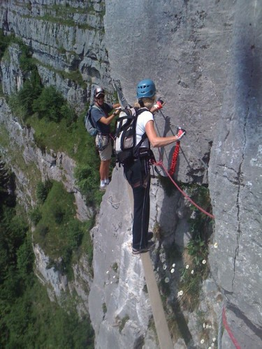 "Helen crossing the 4m wide ""Pont du Mont Blanc"".."