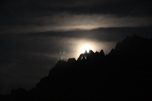 Moon rising over the Aiguilles