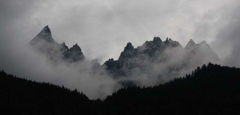 View of the Aiguilles from Chamonix town