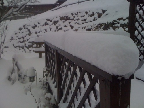 Snow on the hot tub deck