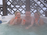 Some of our guests having a great time in the hot tub!