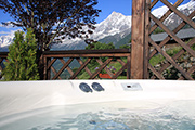 The hot tub is on 365 days per year - with a fantastic view of the Mont Blanc massif