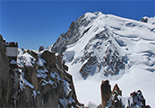 Aiguille du Midi and the Mont Blanc du Tacul, the Mont Maudit...  and the Mont Blanc