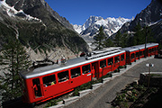 The Montenvers Train in front of the Mer du Glace