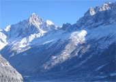 View of the Mont Blanc massif from the balcony
